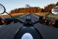 The view over the handlebars of motorcycle Stock Image