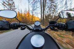 The view over the handlebars of motorcycle Royalty Free Stock Images