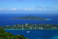A view over Hans Lollik USVI Little and GreatTobago BVI islands from ST. Thomas vista point Royalty Free Stock Images
