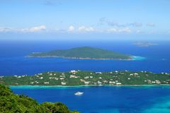 A view over Hans Lollik USVI Little and GreatTobago BVI islands from ST. Thomas vista point Royalty Free Stock Image