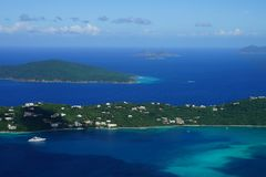 A view over Hans Lollik USVI Little and GreatTobago BVI, Jost Van BVI islands from ST. Thomas vista point. Over Magens Bay royalty free stock photo