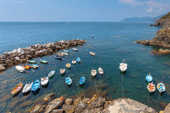 View over harbor of Riomaggiore, One of the Cinque Terre Village Royalty Free Stock Photos