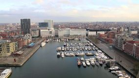 View over the harbour in Antwerp stock footage