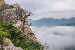 View over Hills with Clouds at Seoraksan National Park Royalty Free Stock Image