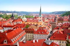 View over historic center of Prague. With castle, Czech Republic Royalty Free Stock Photos
