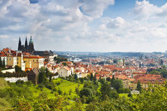 View over historic center of Prague with castle Royalty Free Stock Photography