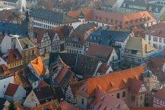View over historic centre of Heppenheim town. Germany Stock Photos