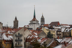 A view over historic part of Bautzen town, Saxony stock images