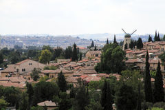 View over historical district Yemin Moshe of Jerus Royalty Free Stock Photos