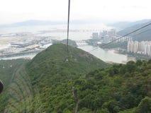 View of Hong Kong airport and Tung Chung from Ngong Ping cableway, Lantau island, Hong Kong stock photo