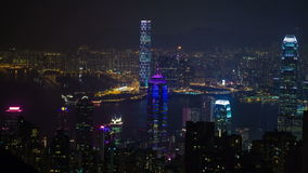 View over hong kong at night stock video footage