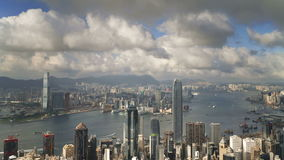 View over Hong Kong from victoria peak the illuminated skyline of central stock video