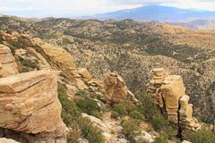 View Towards Tucson from Windy Point Vista. View over hoodoos towards Tucson from Windy Point on Mount Lemmon in Tucson, Arizona, USA in the Santa Catalina Royalty Free Stock Photo