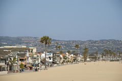 View over houses and beach of Newport Beach, Orange County - California Royalty Free Stock Images