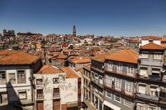 View over houses and roofs and Clerigos Tower in Porto, Portugal Stock Photo