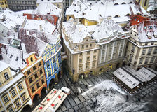 The view over the houses and the roofs from the top of Staromestska tower Stock Photography