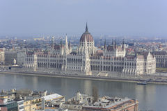 View over the Hungarian Parliament, along the Danube - Budapest Royalty Free Stock Photo