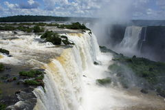 View over the Igussu falls in South America stock images