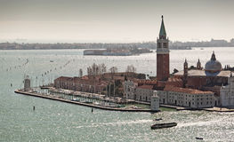 View over Isola di San Giorgio Maggiore from the Campanile tower Stock Images