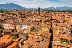 View over Italian town Lucca with typical terracotta roofs Royalty Free Stock Images