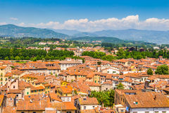 View over Italian town Lucca with typical terracotta roofs Stock Photo
