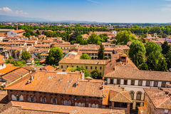 View over Italian town Lucca with typical terracotta roofs Stock Image