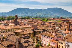 View over Italian town Lucca with typical terracotta roofs Royalty Free Stock Photos