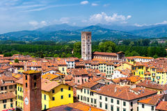 View over Italian town Lucca with typical terracotta roofs Stock Images