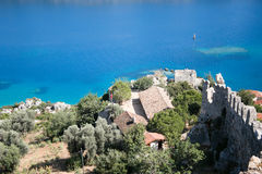 View over Kalekoy Simena bay in Uchagiz village Royalty Free Stock Images