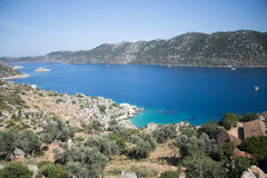 View over Kalekoy Simena bay in Uchagiz village Royalty Free Stock Image
