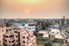 View over Khulna in Bangladesh. KHULNA, BANGLADESH - FEBRUARY 2017: View over the center of Khulna, Bangladesh royalty free stock photo