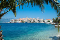 View over Korcula old city on the side of the bay Royalty Free Stock Photos