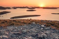 View over the Kornati national park in Croatia during the sunset Royalty Free Stock Photo