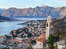 The view over Kotor, Montenegro, the old church, the bay and the Stock Image