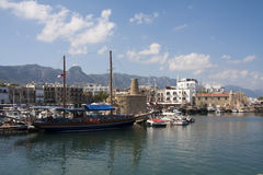 View over Kyrenia (Girne) harbour Stock Image