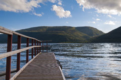 View over a lake. View over the lake Loch Lomond from a jetty Stock Image