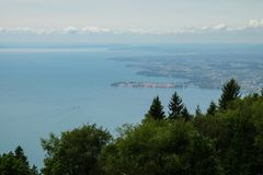 A view over Lake Constance on Lindau stock photography