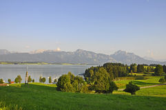 View over Lake Forggensee to the Alps Stock Photo