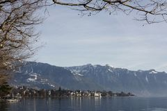 View over the lake of geneva in vevey, switzerland Stock Image