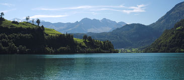 View over the Lake Lungern (Switzerland) on a September day Royalty Free Stock Photos