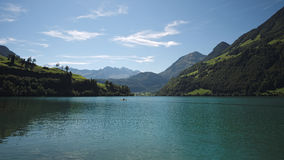 View over the Lake Lungern (Switzerland) on a September day Royalty Free Stock Photography