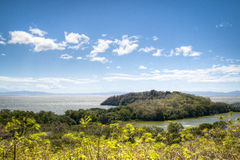 View over lake Nicaragua with Charco Verde. View over the Charco Verde lagoon on isla Ometepe with Lake Nicaragua in the background Royalty Free Stock Image