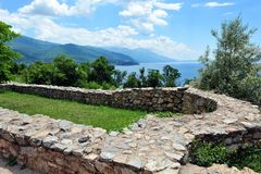View over Lake Ohrid, Macedonia. Ancient stone wall in the foreground.  Beautiful summer day Royalty Free Stock Image