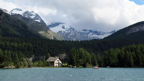 View over Lake Sils in the background (Engadin, Switzerland) and Lake Silvaplana (foreground) Royalty Free Stock Image