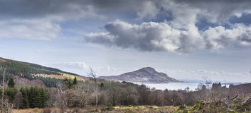 View over Lamlash & Holy Isle from Arran in Scotland. Stock Image