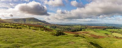 Landscape near Hay Bluff, Wales, UK. View over the landscape of the Brecon Beacons National Park with Twmpa mountain on the left, seen from Hay Bluff car park in Royalty Free Stock Images