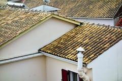Half Pipe Terracotta Roof Tiles, Lefkada, Greece stock photos