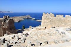 View over Lindos Acropolis Stock Image
