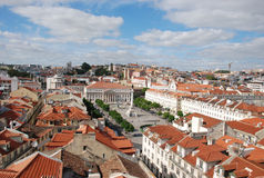 View over Lisbon. To the main square (Rossio), Portugal royalty free stock photos