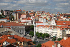 View over Lisbon. To the main square (Rossio), Portugal royalty free stock images